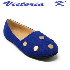 Shoes - Women Denim Studded Ballet Flats, B-2298, Blue